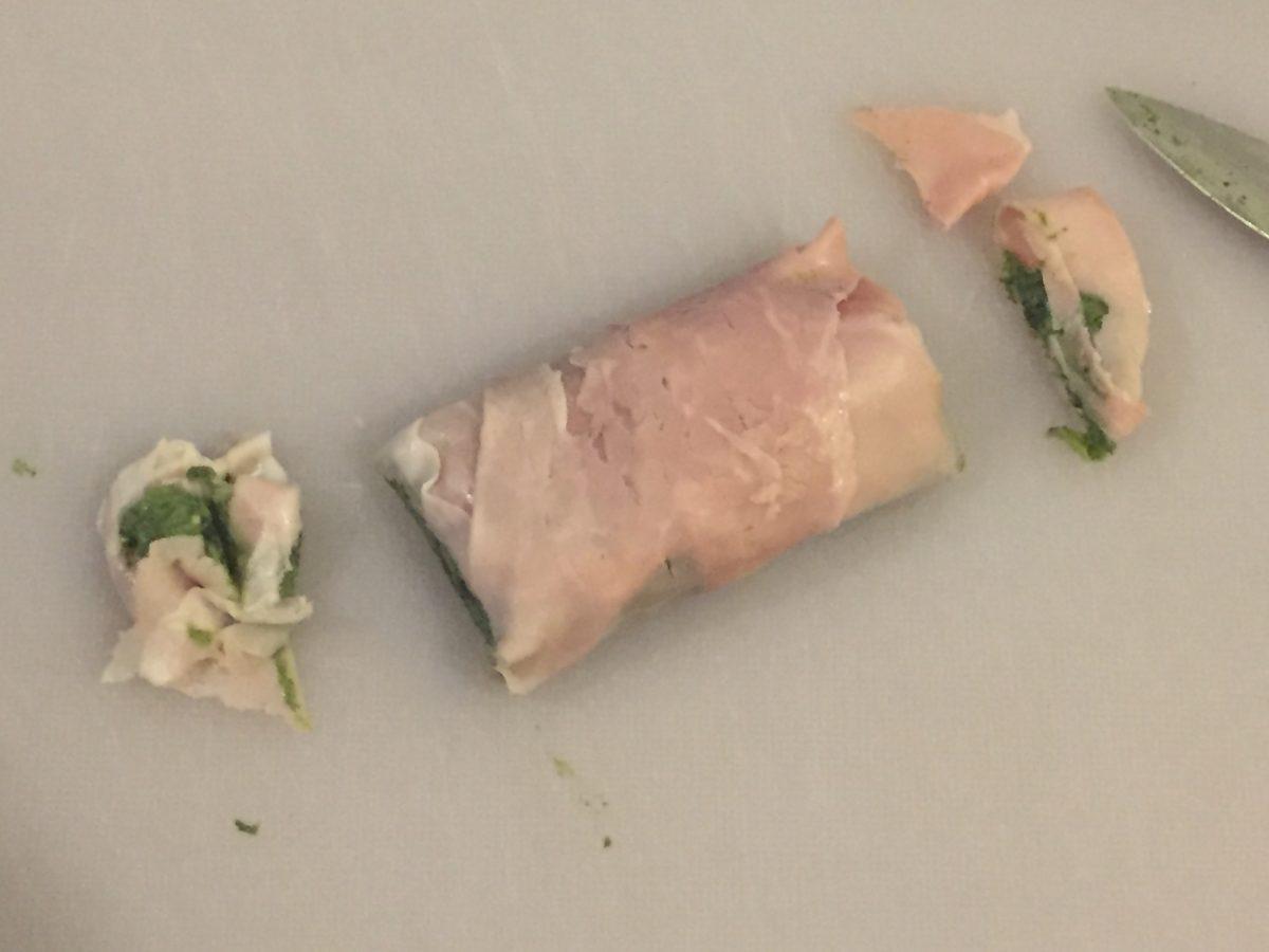 involtini di prosciutto con stracchino e spinaci