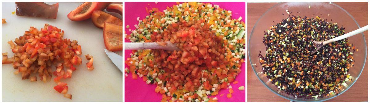 insalata riso venere verdure crude gamberi