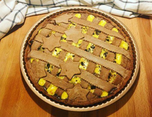 Crostata al cacao amaro con crema pasticcera e scaglie di cioccolato fondente…una vera delizia!
