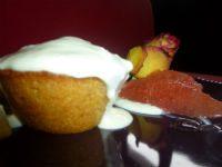 Mini muffins pompelmo e cocco con fonduta al cioccolato bianco