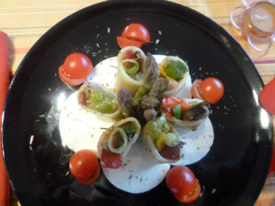 Paccheri ripieni, verdure, bavarese, Mozzarella di Bufala