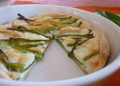 Crostata light con peperoni verdi, albumi e caprino