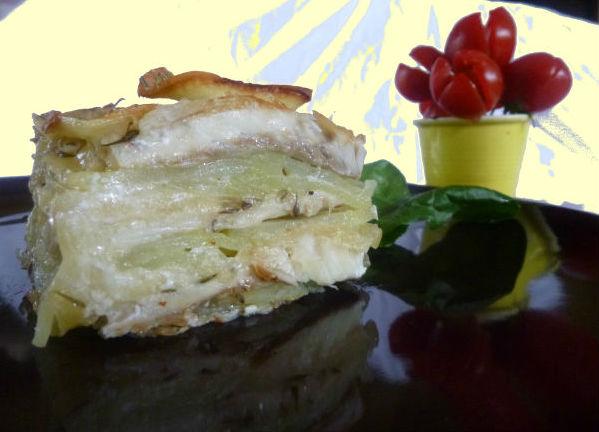 Parmigiana di patate branzino e mozzarella 2