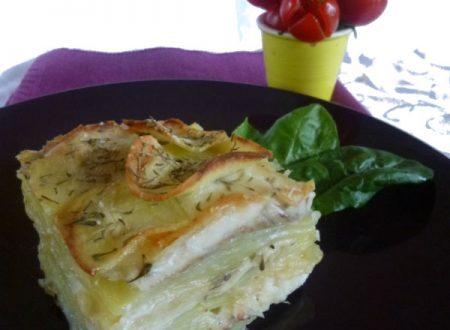 Parmigiana di patate, branzino e mozzarella