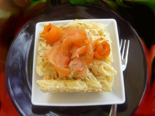 Timballo di penne al salmone con carote e Cognac 2