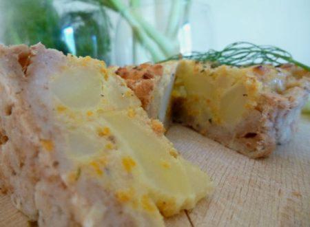 Tortilla eco cremosa con bucce di carote, patate e cipollotto verde