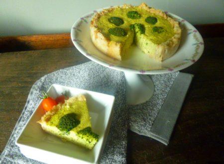 Crostata eco di pane, con flan di gambi e cime di broccoli