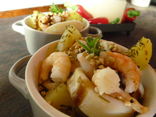 cocotte di gamberi,patate e totani