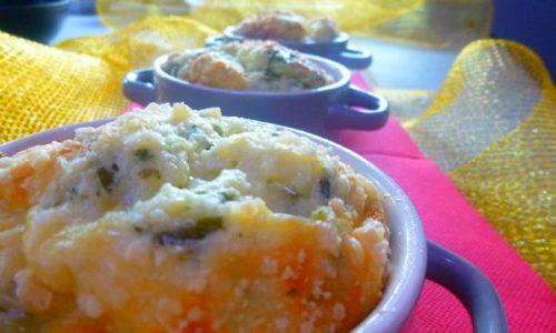 Souffle eco di porri e fonduta di croste di Parmigiano