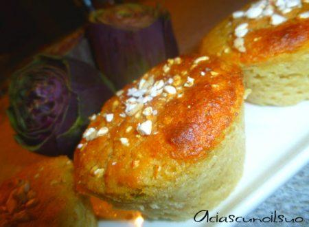 Muffin eco di carciofi, pane, Parmigiano e riso soffiato