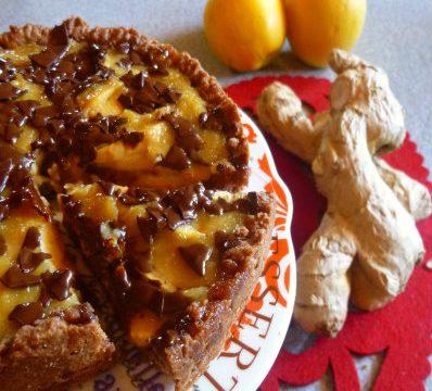 Crostata vegan al cacao con mele e zenzero