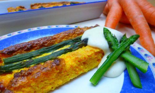 Flan di bucce di carote e asparagi