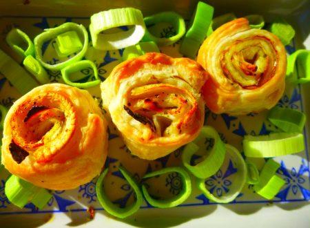 Involtini di sfoglia, sarago, porri e ricotta salata