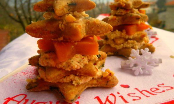 Alberelli di pane integrale con tofu ai pomodori secchi e zucca
