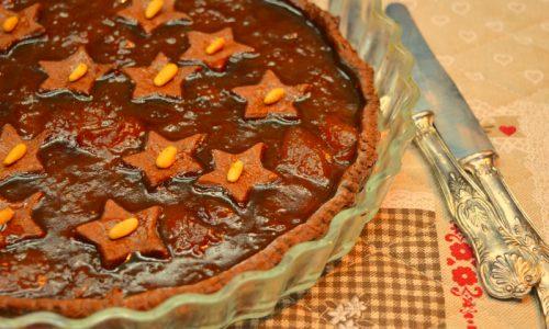 Crostata al cacao con marmellata di cachi