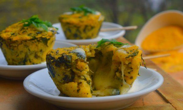 Sformatini di polenta di Beura, spinaci e formaggio Ossolano
