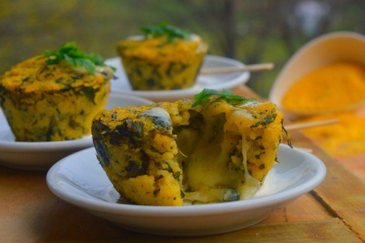Sformatini di polenta di beura con spinaci e formaggio Ossolano