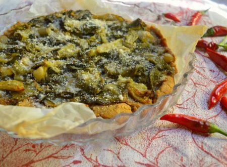 Crostata salata con farina di fave e scarola arrostita