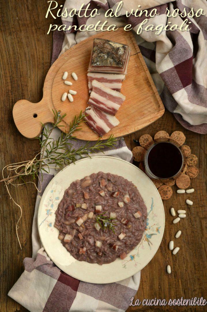 Risotto al vino rosso, pancetta e fagioli