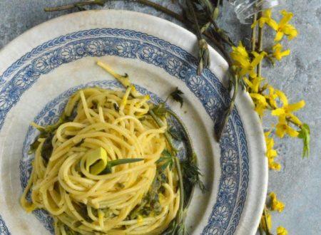 Spaghetti cremosi con luppolo selvatico (ligabusc) e porri