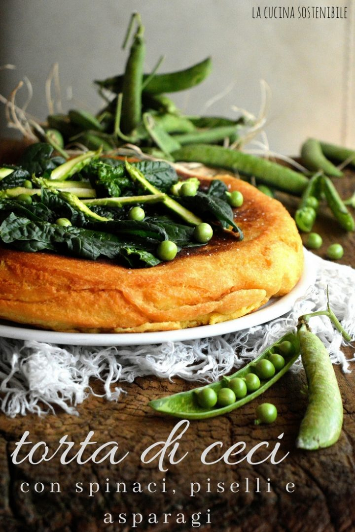 Torta di ceci con spinaci, piselli e asparagi