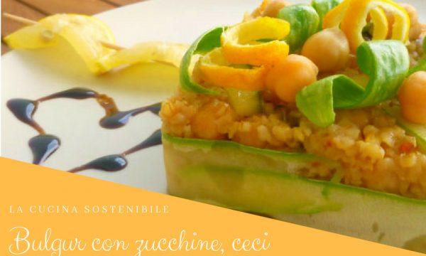 Insalata di bulgur con zucchine, ceci e scorza di limone