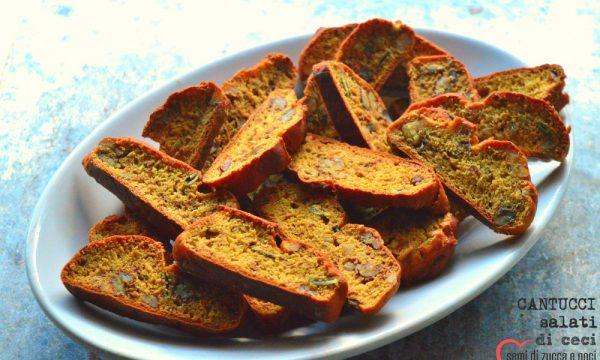 Cantucci salati di ceci, semi di zucca e noci | Snack sfizioso senza glutine