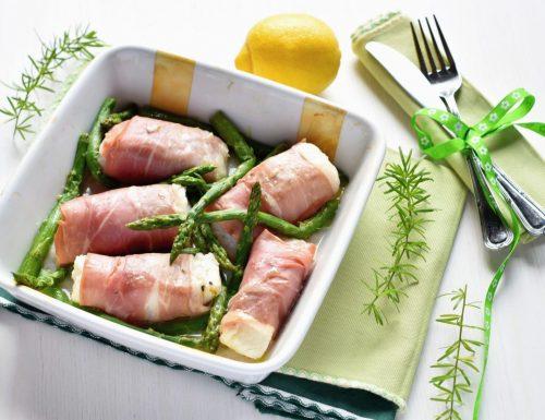 Cuori di merluzzo con speck e asparagi