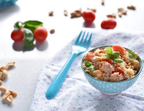 Cous Cous freddo con tonno piccante ceci e granella di arachidi
