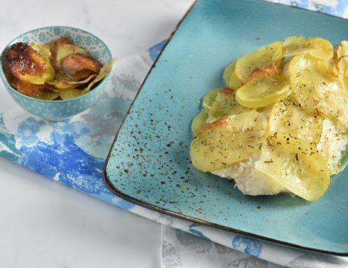 Filetti di pesce Pezzogna al forno in crosta di patate