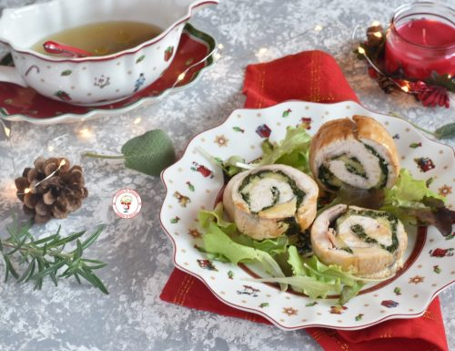 Rotolo di tacchino al forno con prosciutto fontina e spinaci