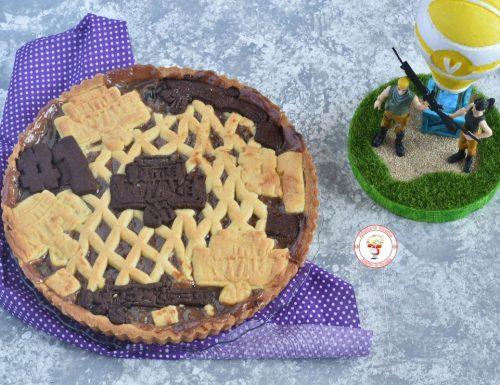 Crostata con crema e marmellata di ciliege tema fortnite