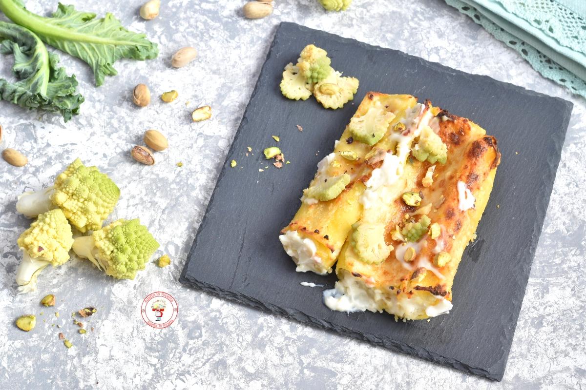cannelloni primaverili con gorgonzola e broccolo romanesco