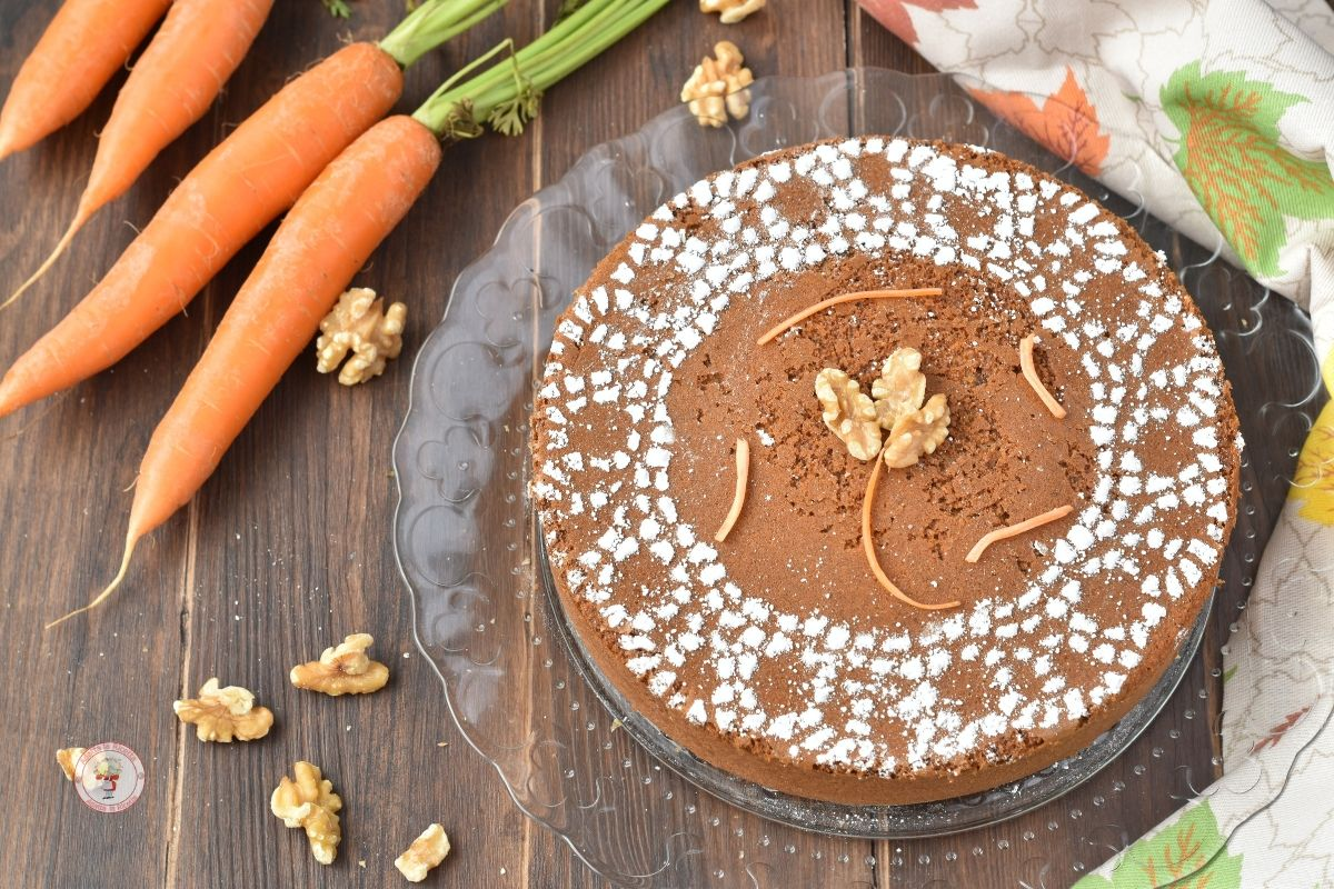 torta di carote e noci senza burro e latte