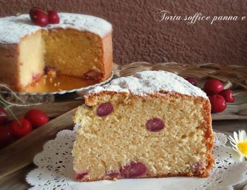 Torta morbida panna e ciliegie senza burro