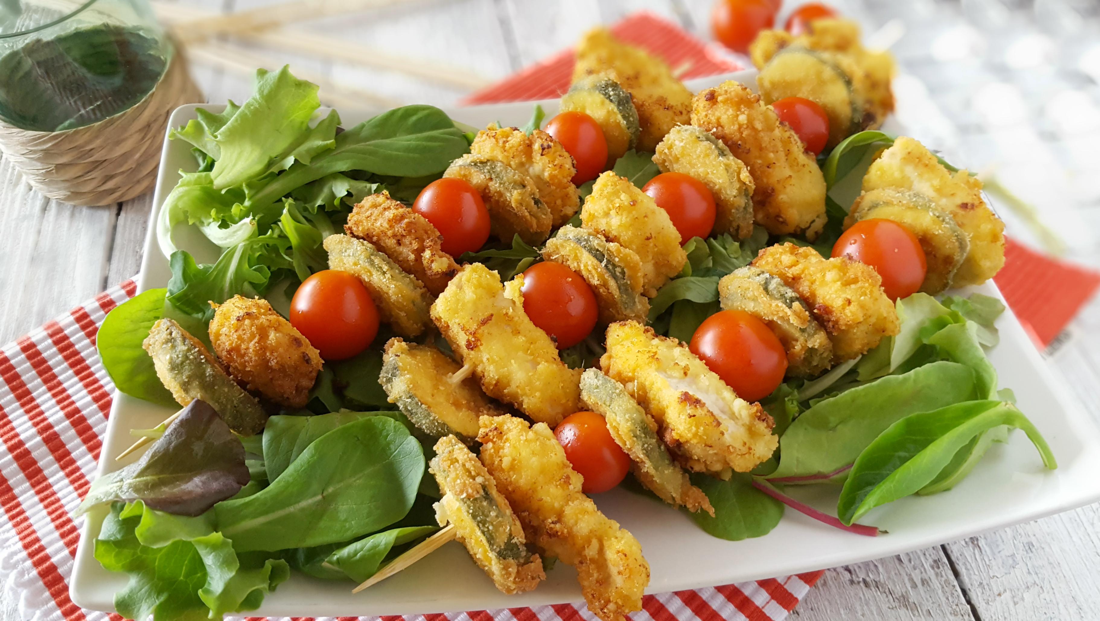 spiedini croccanti di pollo e verdure