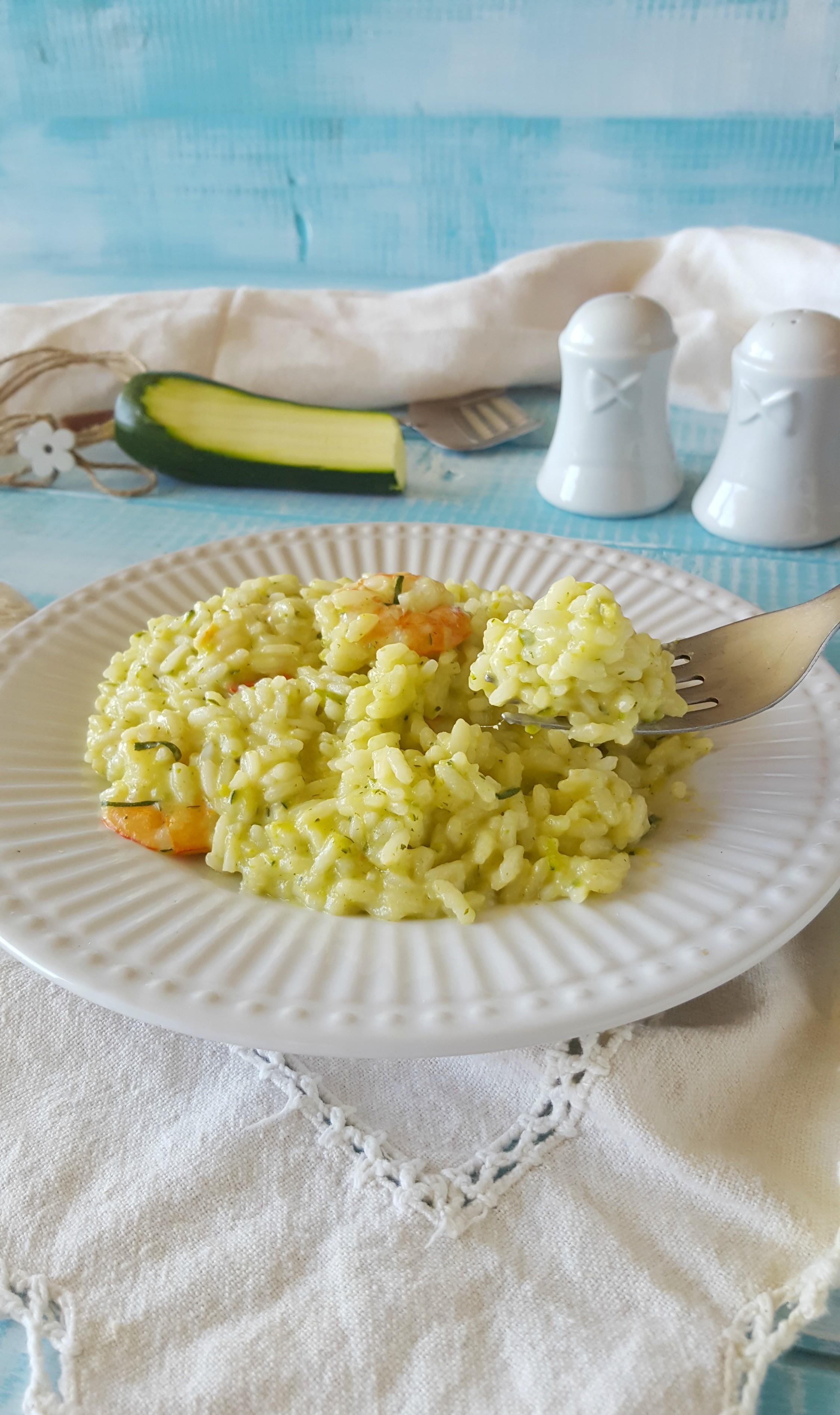 risotto zucchine e gamberi