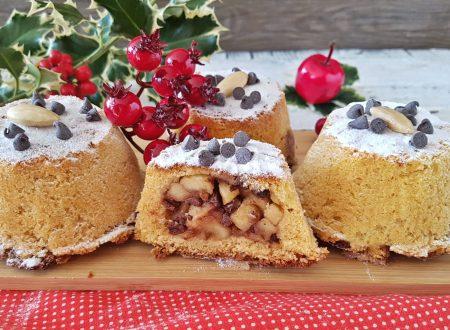 Tortini di pandoro con mele mandorle e cioccolato