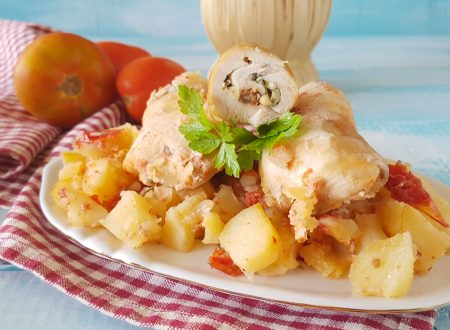 Involtini di petto di pollo e patate al forno