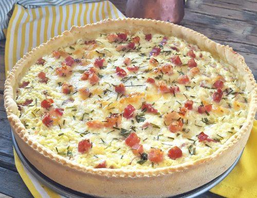 Torta salata ricotta e prosciutto cremosa e filante
