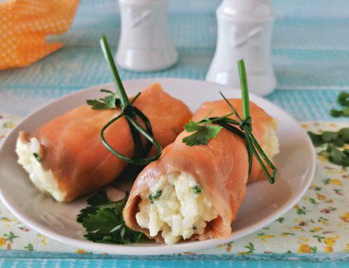 Involtini di salmone con riso doppia versione