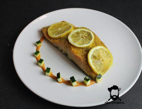 Salmone al forno con limone.