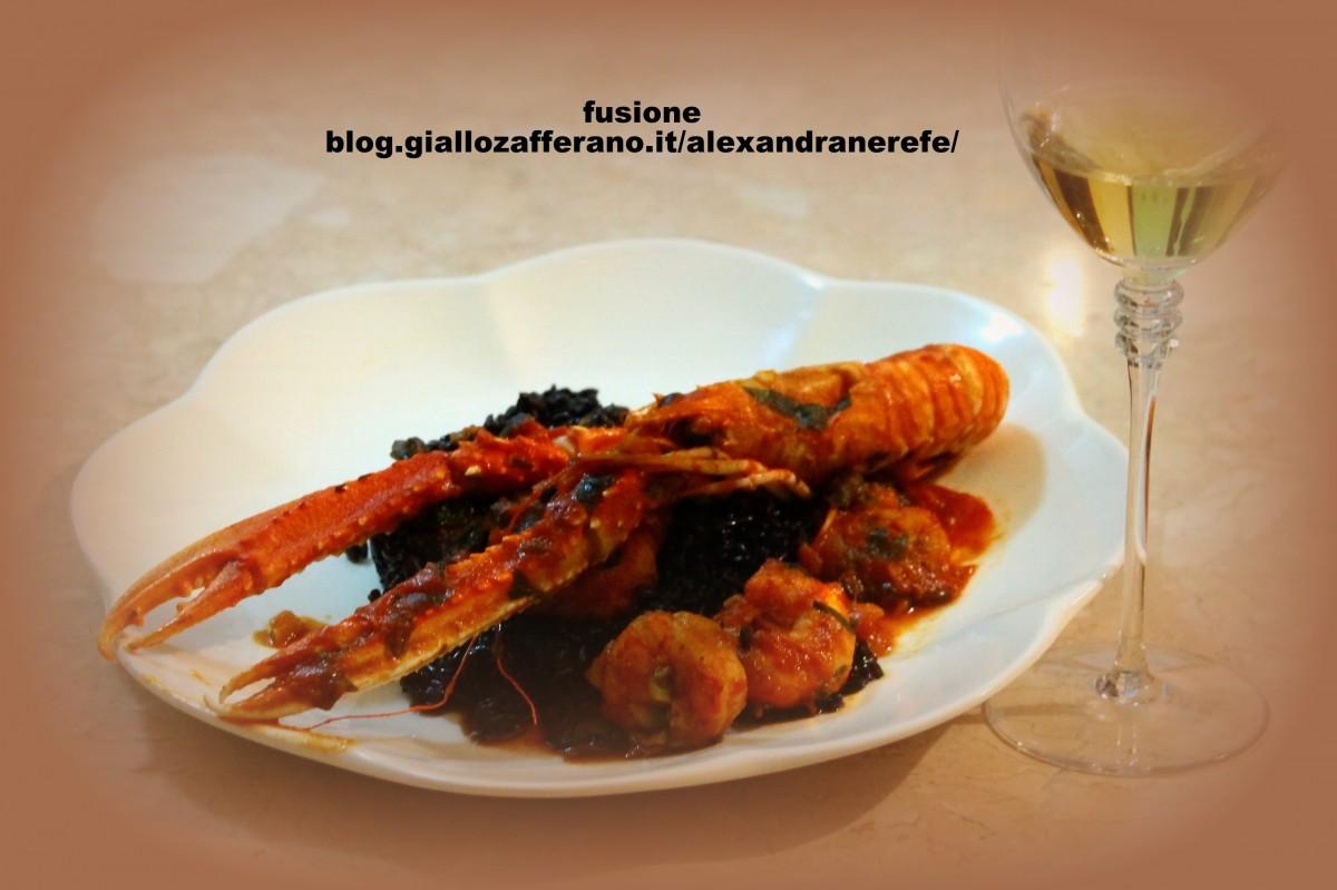 crostacei in umido con riso nero venere