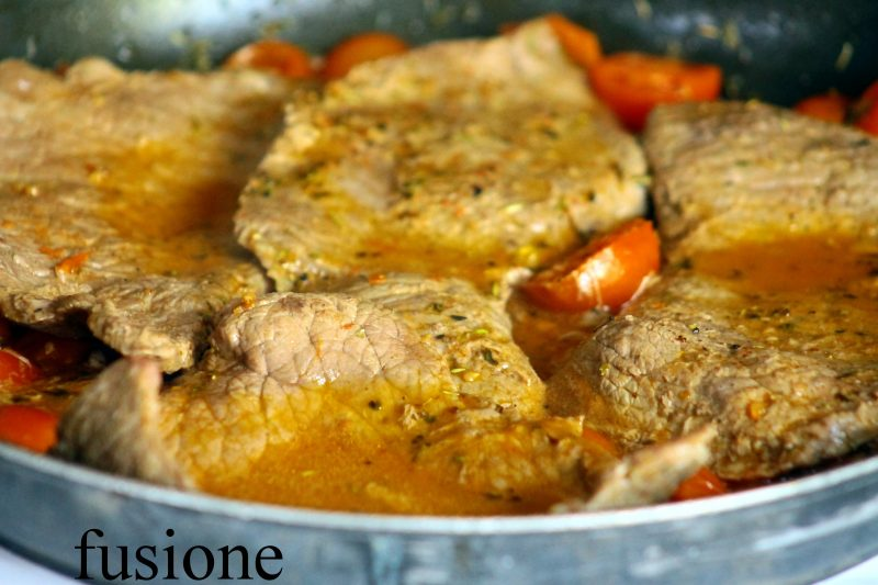 bistecca di manzo con pomodori di Pachino