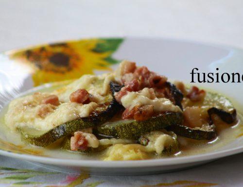 terrina di zucchine al forno con formaggio e pancetta
