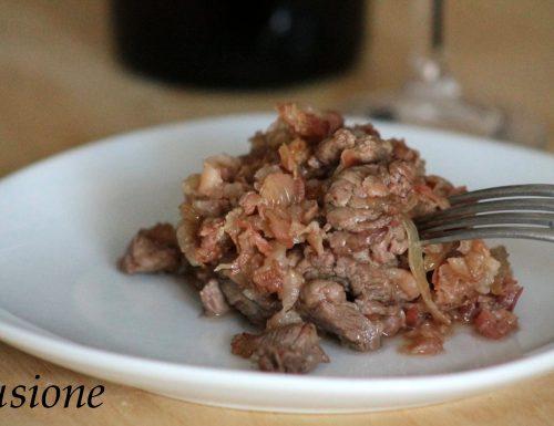 straccetti filetto manzo con pancetta e cipolla