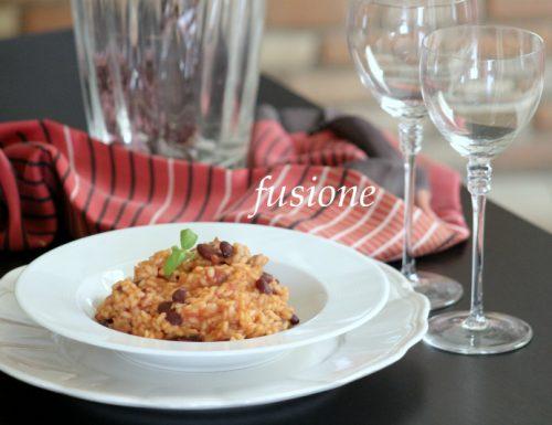 riso al pomodoro con fagioli rossi e salsiccia
