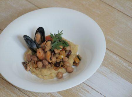 brunoise di verdure legumi e frutti di mare