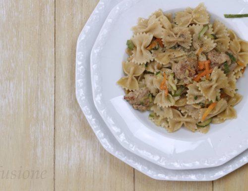 pasta integrale con salsiccia e verdure