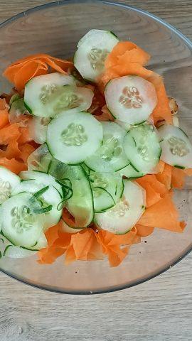 cetrioli in insalata con pollo e altre verdure